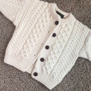 Irish Merino Wool cardigan sweater, 3-4 yrs.